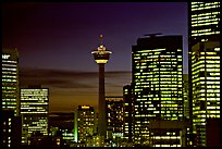 Tower and high-rise buidlings at night. Calgary, Alberta, Canada (color)
