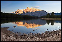 Two Jack Lake shore and Mt Rundle, early morning. Banff National Park, Canadian Rockies, Alberta, Canada (color)