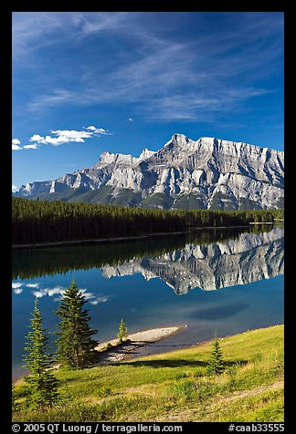 Mount Rundle and Two Jack Lake, morning. Banff National Park, Canadian Rockies, Alberta, Canada (color)