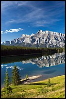 Mount Rundle and Two Jack Lake, morning. Banff National Park, Canadian Rockies, Alberta, Canada