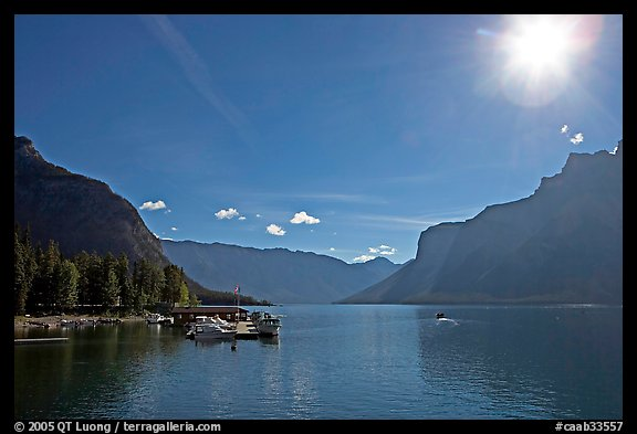 Lake Minnewanka (only lake in the Park that allows motorized boats) and marina, morning.. Banff National Park, Canadian Rockies, Alberta, Canada (color)