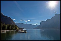 Lake Minnewanka (only lake in the Park that allows motorized boats) and marina, morning.. Banff National Park, Canadian Rockies, Alberta, Canada