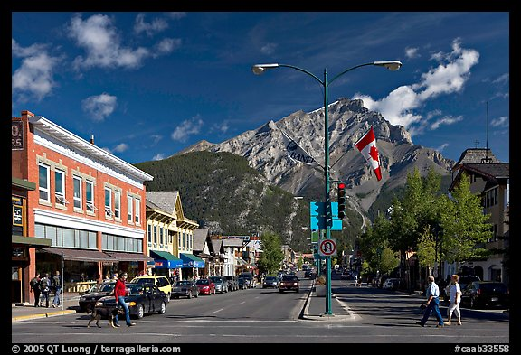 Banff Avenue and Cascade Mountain, mid-morning. Banff National Park, Canadian Rockies, Alberta, Canada (color)