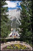 Banff Avenue seen from Cascade Gardens, mid-day. Banff National Park, Canadian Rockies, Alberta, Canada