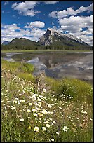 First Vermillon Lake and Mt Rundle, afternoon. Banff National Park, Canadian Rockies, Alberta, Canada