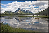 Canoe on first Vermillion Lake, afternon. Banff National Park, Canadian Rockies, Alberta, Canada (color)