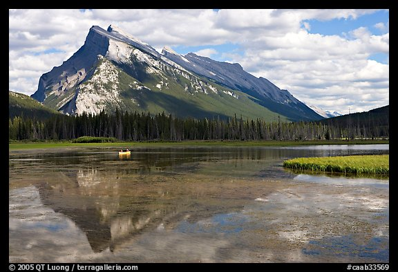 Mt Rundle reflected in first Vermillion lake, afternoon. Banff National Park, Canadian Rockies, Alberta, Canada