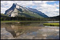 Mt Rundle reflected in first Vermillion lake, afternoon. Banff National Park, Canadian Rockies, Alberta, Canada (color)