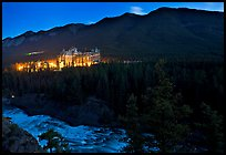 Banff Springs Hotel, Bow River and Falls at night. Banff National Park, Canadian Rockies, Alberta, Canada