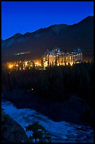 Banff Springs Hotel and Bow River from Surprise Point at night. Banff National Park, Canadian Rockies, Alberta, Canada (color)