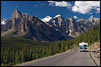 RV on the road to the Valley of Ten Peaks. Banff National Park, Canadian Rockies, Alberta, Canada (color)