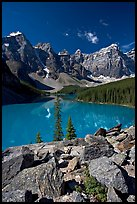 Moraine Lake from the Rockpile, mid-morning. Banff National Park, Canadian Rockies, Alberta, Canada (color)