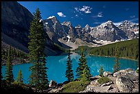 Moraine Lake and Wenkchemna Mountains , mid-morning. Banff National Park, Canadian Rockies, Alberta, Canada