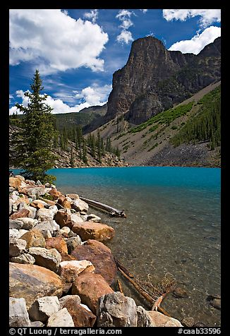 Moraine Lake and peak, afternoon. Banff National Park, Canadian Rockies, Alberta, Canada