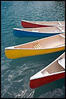 Close up of red, yellow and blue canoes, Moraine Lake. Banff National Park, Canadian Rockies, Alberta, Canada
