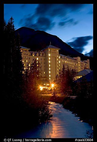 Chateau Lake Louise and stream at night. Banff National Park, Canadian Rockies, Alberta, Canada