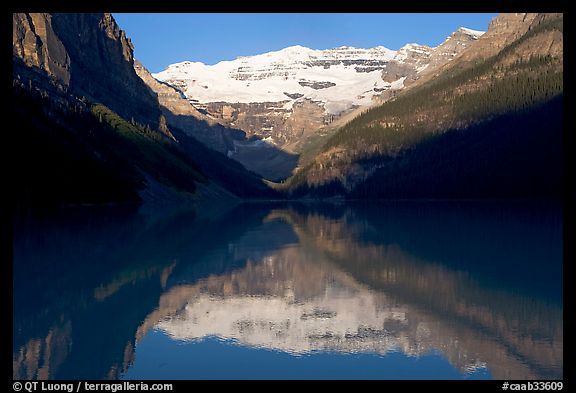 Victoria peak reflected in Lake Louise, early morning. Banff National Park, Canadian Rockies, Alberta, Canada (color)