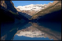 Victoria peak reflected in Lake Louise, early morning. Banff National Park, Canadian Rockies, Alberta, Canada