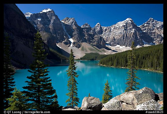 Wenkchemna Peaks above turquoise colored Moraine Lake , mid-morning. Banff National Park, Canadian Rockies, Alberta, Canada (color)