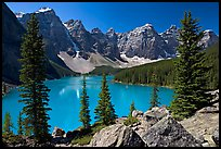 Wenkchemna Peaks above Moraine Lake , mid-morning. Banff National Park, Canadian Rockies, Alberta, Canada (color)