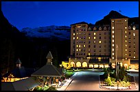Chateau Lake Louise at night, with Victoria Peak looming behind. Banff National Park, Canadian Rockies, Alberta, Canada
