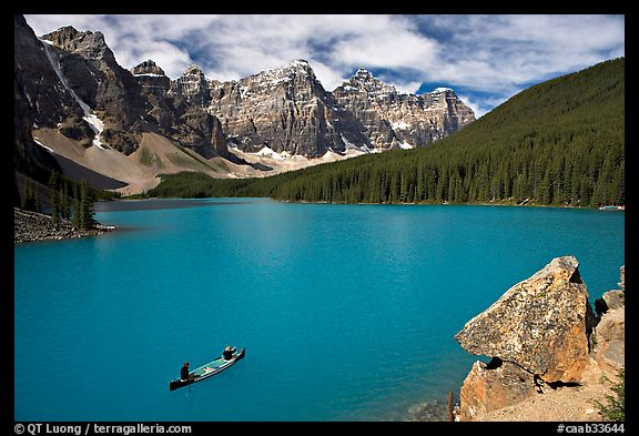 Canoe and Wenkchemna Peaks, Moraine Lake, mid-morning. Banff National Park, Canadian Rockies, Alberta, Canada (color)