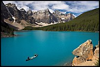 Canoe and Wenkchemna Peaks, Moraine Lake, mid-morning. Banff National Park, Canadian Rockies, Alberta, Canada