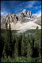 Crowfoot Mountain rising above Bow Lake. Banff National Park, Canadian Rockies, Alberta, Canada (color)