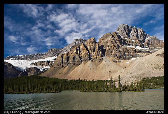 Crowfoot Mountain and Crowfoot Glacier above Bow Lake. Banff National Park, Canadian Rockies, Alberta, Canada (color)