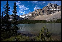 Bow Lake shoreline,  Crowfoot Mountain and Crowfoot Glacier. Banff National Park, Canadian Rockies, Alberta, Canada (color)