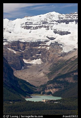 Distant view of Lake Louise and  Victoria Peak from the ski resort. Banff National Park, Canadian Rockies, Alberta, Canada