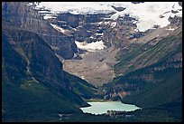Distant view of Lake Louise and Chateau Lake Louise at the base of Victorial Peak. Banff National Park, Canadian Rockies, Alberta, Canada ( color)