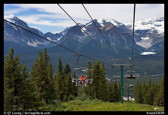Riding a tram at Lake Louise ski resort. Banff National Park, Canadian Rockies, Alberta, Canada (color)