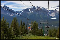 Riding a tram at Lake Louise ski resort. Banff National Park, Canadian Rockies, Alberta, Canada
