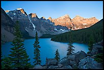 Wenkchemna Peaks above Moraine Lake, sunrise. Banff National Park, Canadian Rockies, Alberta, Canada (color)