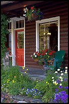 Flowered porch of a wooden cabin. Banff National Park, Canadian Rockies, Alberta, Canada (color)