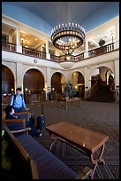 Main interior lobby of Chateau Lake Louise. Banff National Park, Canadian Rockies, Alberta, Canada