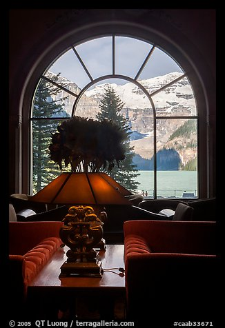 Lake Louise seen through a window of Chateau Lake Louise hotel. Banff National Park, Canadian Rockies, Alberta, Canada (color)