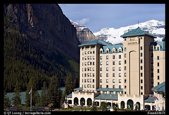 Chateau Lake Louise, with Victoria Peak in the background. Banff National Park, Canadian Rockies, Alberta, Canada (color)