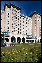 Facade of Chateau Lake Louise hotel. Banff National Park, Canadian Rockies, Alberta, Canada