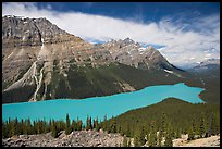 Peyto Lake and Cauldron Peak, mid-day. Banff National Park, Canadian Rockies, Alberta, Canada