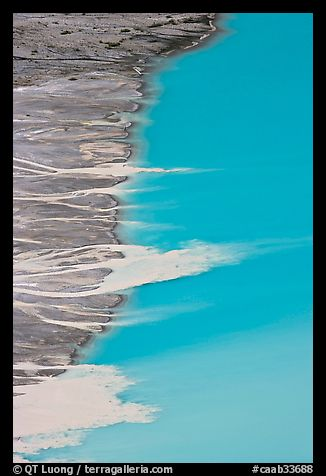 Glacial sediments transported into Peyto Lake by streams. Banff National Park, Canadian Rockies, Alberta, Canada (color)