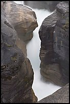 River flowing through narrow slot, Mistaya Canyon. Banff National Park, Canadian Rockies, Alberta, Canada (color)