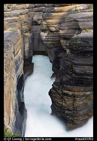 Stratified layers of rock cut by water, Mistaya Canyon. Banff National Park, Canadian Rockies, Alberta, Canada