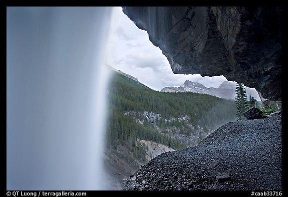 Panther Falls and ledge, seen from behind. Banff National Park, Canadian Rockies, Alberta, Canada