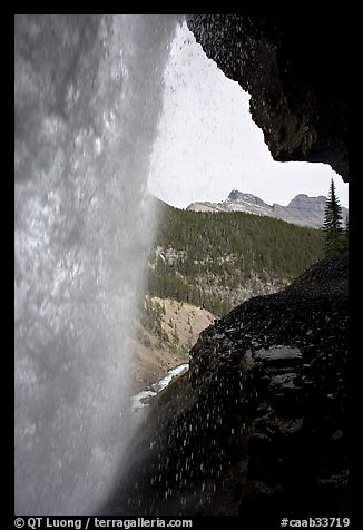 Panther Falls and ledge from behind. Banff National Park, Canadian Rockies, Alberta, Canada (color)