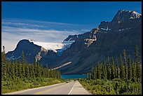 Road, Bow Lake, and Crowfoot Glacier, Icefieds Parkway. Banff National Park, Canadian Rockies, Alberta, Canada (color)