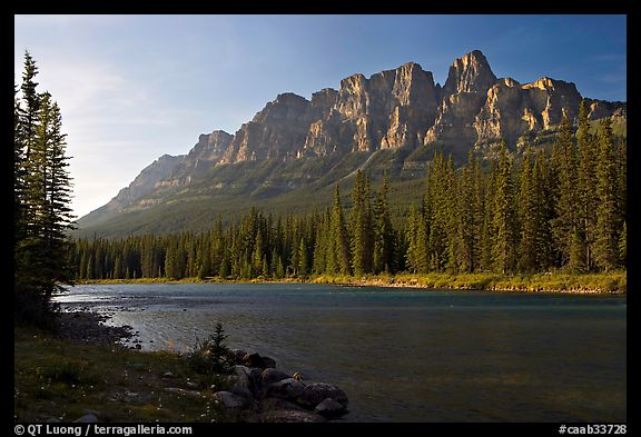 Castle Mountain and the Bow River, late afternoon. Banff National Park, Canadian Rockies, Alberta, Canada (color)