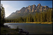 Castle Mountain and the Bow River, late afternoon. Banff National Park, Canadian Rockies, Alberta, Canada