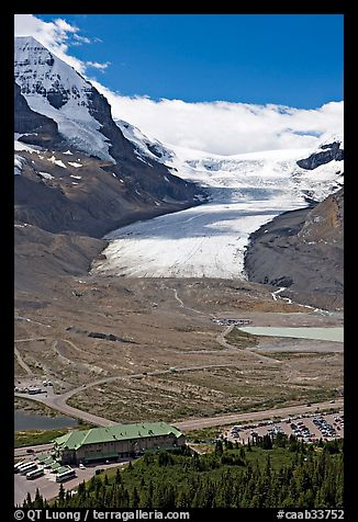 Icefields Center and Athabasca Glacier. Jasper National Park, Canadian Rockies, Alberta, Canada (color)